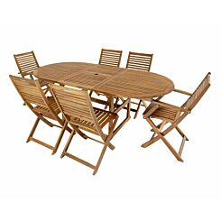 Charles Bentley Wooden FSC Acacia 6 Seater Extendable Oval Table Dining Set