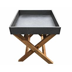 Charles Bentley Concrete and Wood Garden Butler Tray