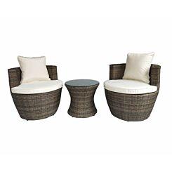 Charles Bentley Rattan Stacking 3 Piece Garden Furniture Set Cream