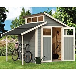 Rowlinson Pre Painted Skylight Shed with Lean-To 7ft x 10ft