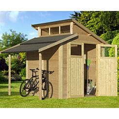 Rowlinson Unpainted Skylight Shed with Lean-To 7ft x 10ft