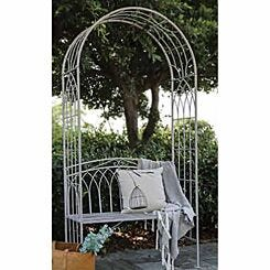 Charles Bentley Wrought Iron Arch with Bench Antique White