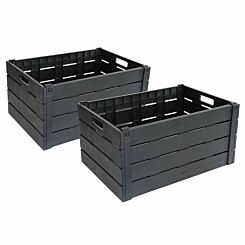 Charles Bentley Strata Plastic Foldable Crates Pack of 2