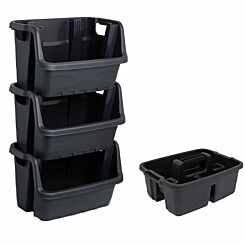 Charles Bentley Strata Stacking Crate and Caddy Storage Bundle