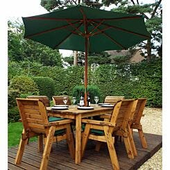 Charles Taylor Six Seater Table Set with Parasol Green