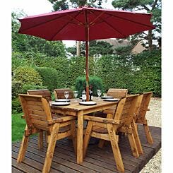 Charles Taylor Six Seater Table Set with Parasol Burgundy
