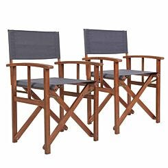 Charles Bentley Folding FSC Wooden Directors Chair Set of 2