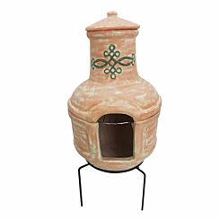 Charles Bentley 2 Piece Terracotta Clay Chiminea with BBQ Grill