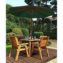 Charles Taylor Four Seater Round Table Set with Parasol