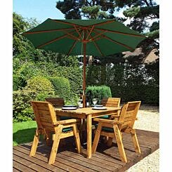 Charles Taylor Four Seater Square Table Set with Parasol