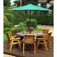 Charles Taylor Six Seater Round Table Set with Parasol