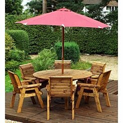 Charles Taylor Six Seater Round Table Set with Parasol Burgundy