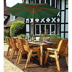 Charles Taylor Eight Seater Rectangular Table Set with Parasol Green