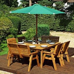 Charles Taylor Eight Seater Square Table Set with Benches and Parasol