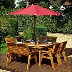 Charles Taylor Eight Seater Square Table Set with Benches and Parasol Burgundy