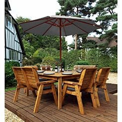 Charles Taylor Eight Seater Square Table Set with Benches and Parasol Grey