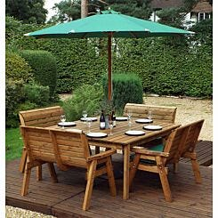 Charles Taylor Eight Seater Square Table Set with 4 Benches and Parasol Green