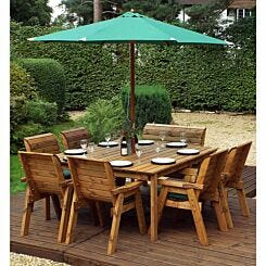 Charles Taylor Eight Seater Square Table Set with Single Bench and Parasol