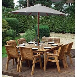 Charles Taylor Eight Seater Square Table Set with Single Bench and Parasol Grey