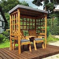 Charles Taylor Twin Seat Arbour with Cover Grey