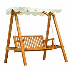 Alfresco 2 Seater Wooden Garden Swing with Canopy
