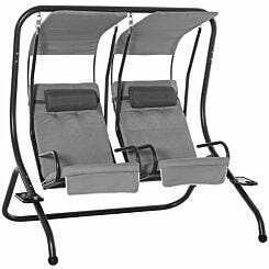 Alfresco 2 Seater Swing Chair with Removable Canopies Grey