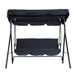 Alfresco 3 Seater Swing Chair with Canopy Black