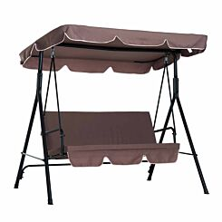 Alfresco 3 Seater Swing Chair with Canopy Brown