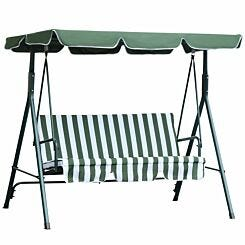 Alfresco 3 Seater Swing Chair with Canopy Green