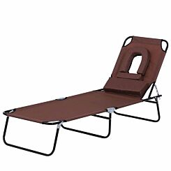 Alfresco Folding Sun Lounger with Reading Hole and Pillow Brown