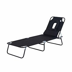 Alfresco Folding Sun Lounger with Reading Hole and Pillow Black