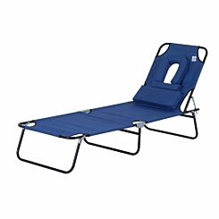 Alfresco Folding Sun Lounger with Reading Hole and Pillow Blue