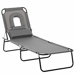 Alfresco Folding Sun Lounger with Reading Hole and Pillow Grey