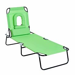 Alfresco Folding Sun Lounger with Reading Hole and Pillow Green