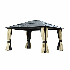 Alfresco Deluxe Hardtop Gazebo with Mesh Curtains 14x12ft