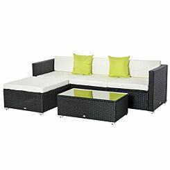 Alfresco Rattan Sectional Garden Sofa Set with Cushions Black