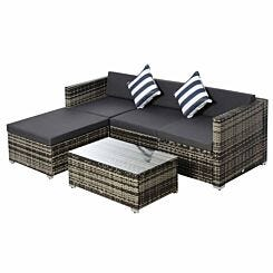 Alfresco Rattan Sectional Garden Sofa Set with Cushions Grey