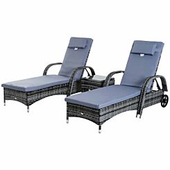 Alfresco Recliner Sun Lounger Set with Side Table Grey