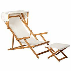 Alfresco Acacia Deckchair with Small Canopy and Footstool