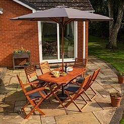 Rowlinson Plumley 6 Seater Dining Set with Parasol and 15kg Base