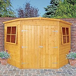 Shire FSC Shiplap Corner Shed with Double Doors and Windows 7 x 7 ft