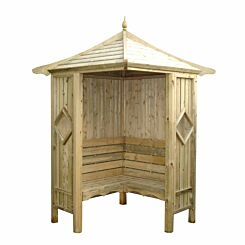 Shire FSC Classic Corner Pressure Treated Garden Arbour with Bench