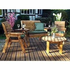 Charles Taylor Round Four Seater Garden Furniture Set Green