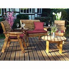 Charles Taylor Round Four Seater Garden Furniture Set Burgundy