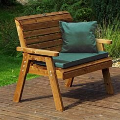 Charles Taylor Traditional Two Seater Bench with Cushions Green
