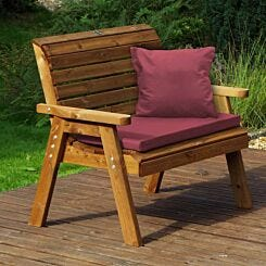 Charles Taylor Traditional Two Seater Bench with Cushions Burgundy