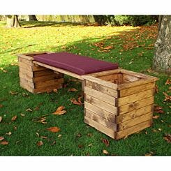Charles Taylor Deluxe Planter Bench with Cushion Burgundy