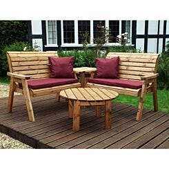 Charles Taylor Four Seater Corner Furniture Set with Cushions Burgundy