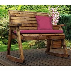 Charles Taylor Two Seater Rocking Bench with Cushions and Cover Burgundy