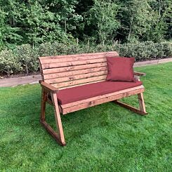 Charles Taylor Three Seater Rocking Bench with Cushions and Cover Burgundy